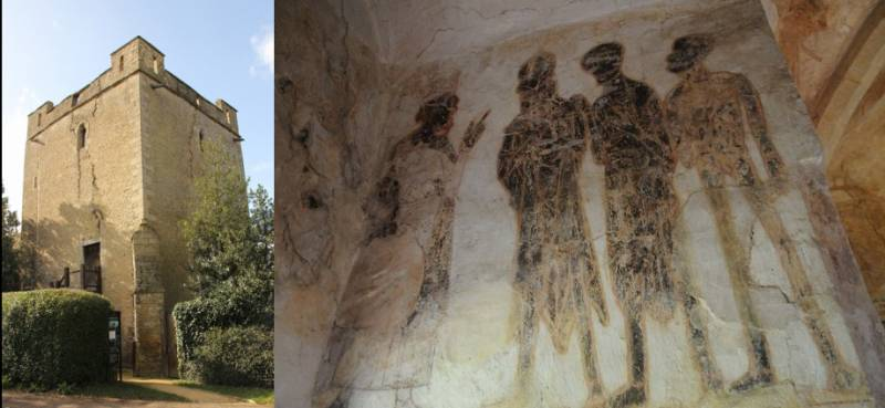 A view of the ouside of Longthorpe Tower and of the wall painting of 'The Three Living and the Three Dead'