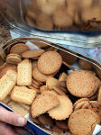 Close up of biscuits in a biscuit tin